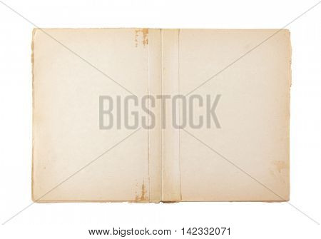 Open old blank book isolated on white with clipping path