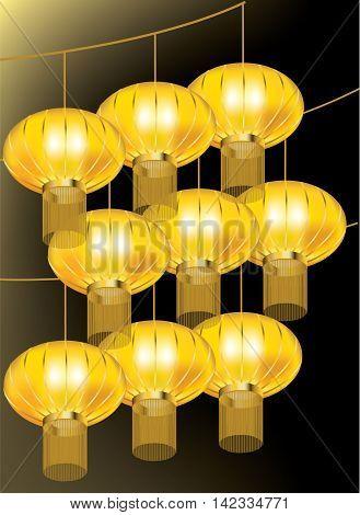 Beautiful golden lanterns hanging on strings on black background