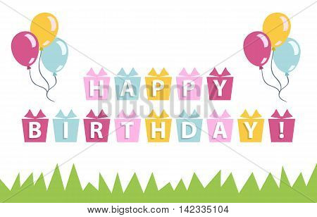Happy birthday card with balloons, text, grace on a white backgrond