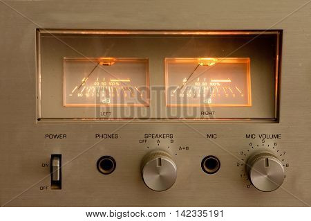 Vintage stereo receiver in aluminium. Close up