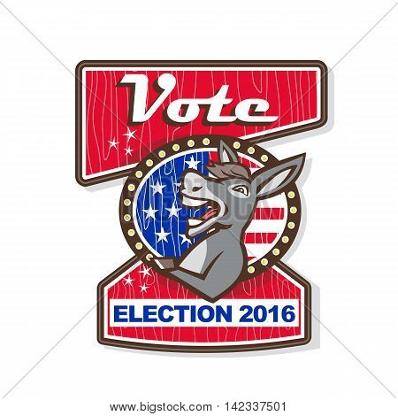 Illustration of a democrat donkey mascot of the democratic grand old party gop smiling looking to the side set inside oval shape with american stars and stripes flag in the background and the words Vote Election 2016.