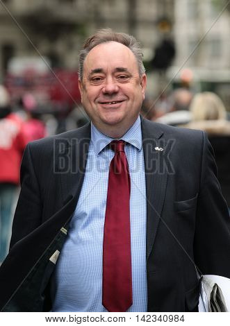LONDON, UK, JUN 2, 2016: Alex Salmond seen arriving to Global media radio picture taken from the street
