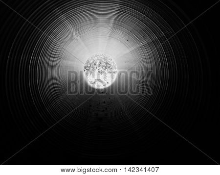 View inside of long plastic tube under ground. Colorful ribbed wall of plastic pipe green light at circle end. Tunel under ground with far light