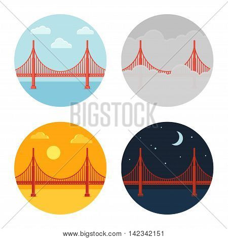 Golden Gate Bridge icon set. San Francisco in different time and weather. Flat cartoon vector style.