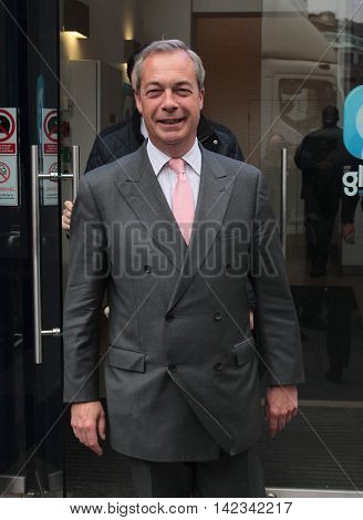 LONDON, UK , JUN 3, 2016: Nigel Farage seen arriving at Global media radio picture taken from the street
