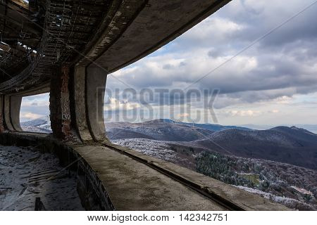 Landscape from Buzludzha - abandoned bulgarian communist party's building