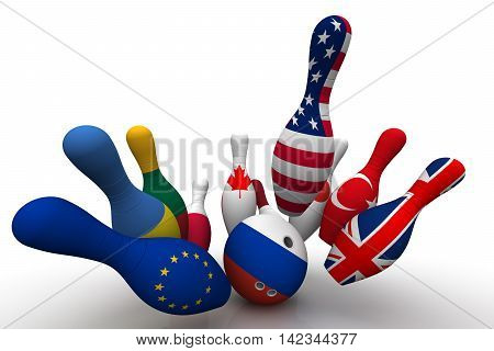 Geopolitics as a bowling game. Bowling Ball in colors of the flag of the Russian Federation breaks the skittles with a picture of the flags of other countries. Geopolitical confrontation concept. Isolated. 3D Illustration
