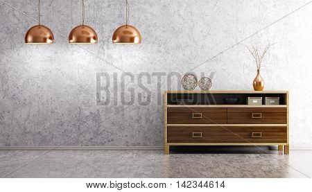 Interior Of Living Room With Wooden Dresser And Lamps 3D Rendering