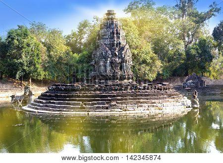 ruins of Neak Pean(12th Century) - religious architecture landmarks buildings complex near Siem Reap Cambodia