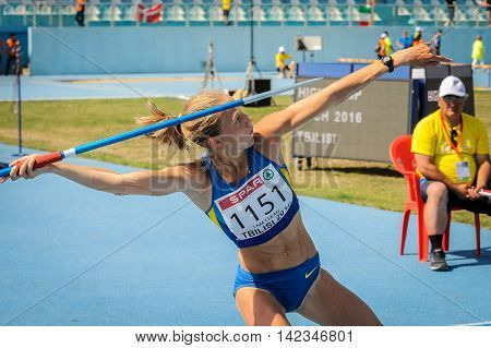 SHUKH Alina from Ukraine during javelin throw competition at the European Athletics Youth Championships in the Athletics Stadium Tbilisi Georgia 16 July 2016