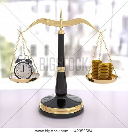 3D rendering of a balanced scale of time and money time is money