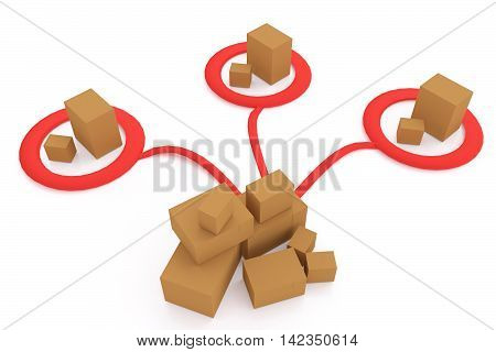 3D rendering of cardboard boxes distributing to ares on white background