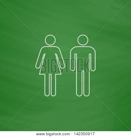 man and woman Outline vector icon. Imitation draw with white chalk on green chalkboard. Flat Pictogram and School board background. Illustration symbol