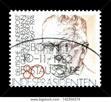 GERMANY - CIRCA 1982 : Cancelled postage stamp printed by Germany, that shows Gustav Heinemann.