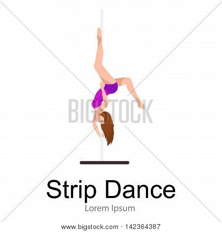 Female Pole dancer, woman dancing on pylon, sexy strip girl dancer, yong stripper, sport dance, isolated white background pretty woman body, beautiful slim girl long hair vector illustration