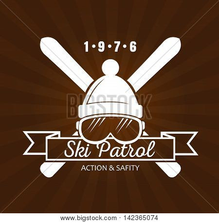 Vintage skiing resort or mountain patrol label, emblem or logo with ski and ski mask