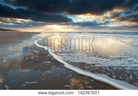beautiful sundown on North sea coast North Holland Netherlands
