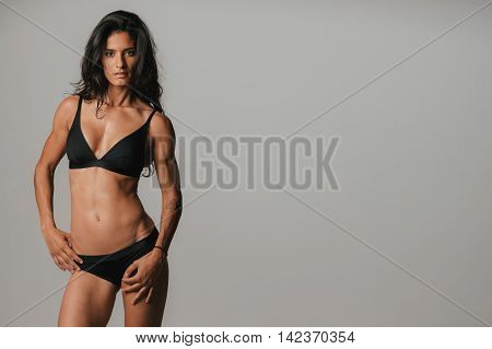 Pretty Young Woman Wearing Sexy Black Underwear