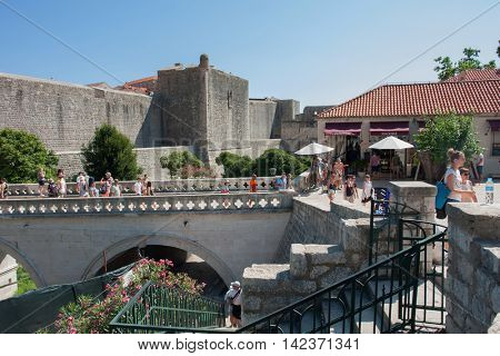 DUBROVNIK, CROATIA - AUG 3, 2016: Unidentified tourists in the Old town of Dubrovnik, Croatia. Dubrovnik is a UNESCO World Heritage site