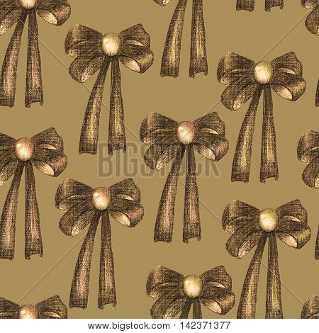 A seamless pattern with a dark bows decorated by jewel (gemstone), painted in colored pencils in sepia color on a sepia background