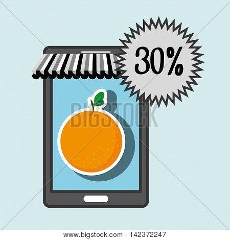 smartphone buy online fruit vector illustration graphic