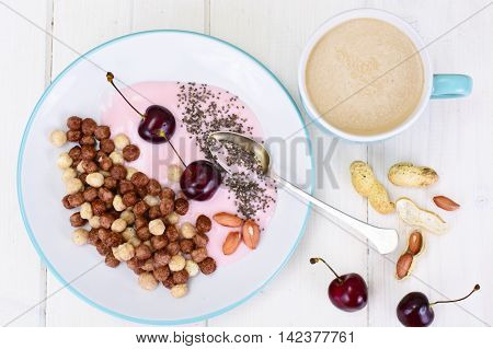 Protein Chocolate Beakfast with Chia Seeds and Peanuts Studio Photo