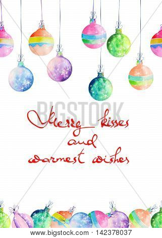 Postcard, greeting card or invitation with colored Christmas balls painted in watercolor on a white background with inscription
