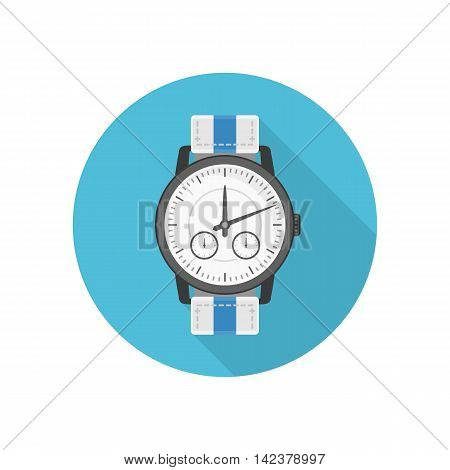Wrist watches icon in classic design. Isolated clocks in flat style whit long shadow. Vector sign watch on blue background. Design element.