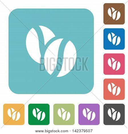 Flat coffee beans icons on rounded square color backgrounds.