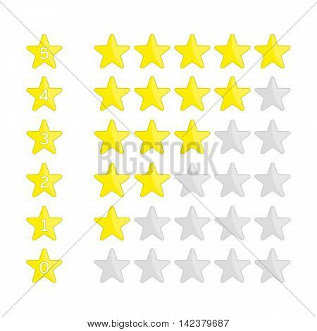 Rating Stars Set. Vector illustration of a rating system based on stars.