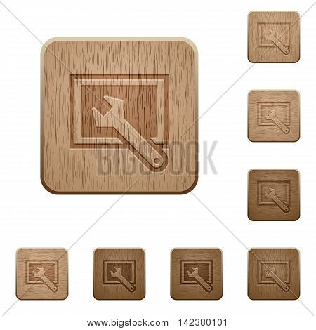 Set of carved wooden screen settings buttons in 8 variations.