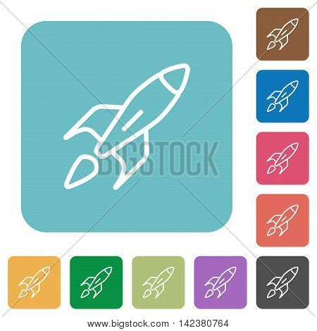 Flat launched rocket icons on rounded square color backgrounds.