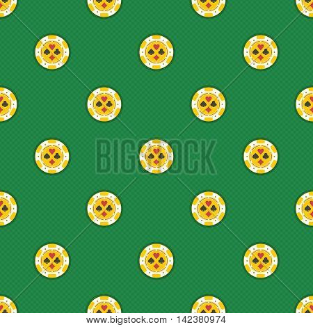 Seamless pattern casino chips. Modern background of casino chips with playing card symbols. Tiling casino backdrop. Seamless texture with casino chips.