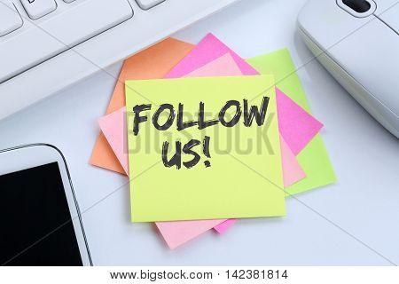 Follow Us Follower Followers Fans Likes Social Networking Media Internet Desk