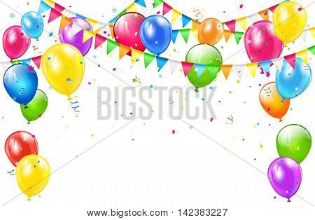 Happy Birthday background with set of colorful balloons, multicolored pennants and confetti on white backdrop, illustration.