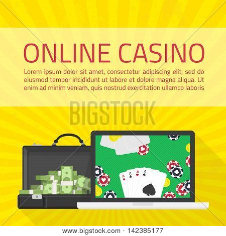 Background of Casino online. Online poker app on laptop screen, cards and poker chips all around. Illustration of casino online in flat style. Concepts web banner, games of chance.