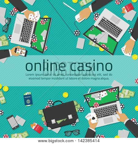 Background of Casino online. Illustration of casino in flat style. Internet casino concept. Online poker app on laptop screen, cards and poker chips all around. Concepts web banner, games of chance.