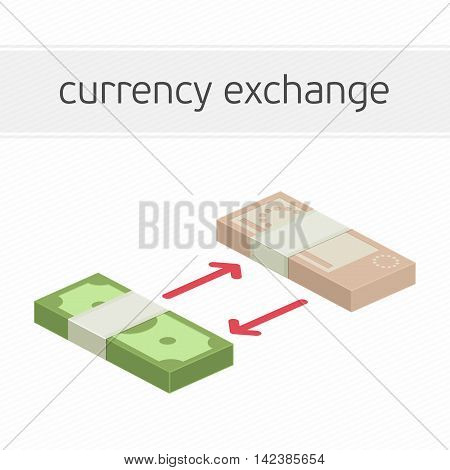 Currency exchange concept. Modern banner template of currency exchange, money exchange. Dollar to euro foreign currency exchange illustration for apps, websites or signboard.