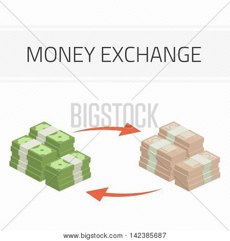 Currency exchange, money exchange. Stock Exchange in a flat style. Modern vector illustration concept of world currency exchange, converting money with euro, dollar symbols.