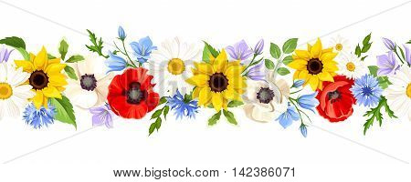 Vector horizontal seamless background with colorful wild flowers on a white background.