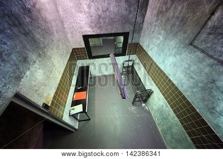 MOSCOW, RUSSIA - MAR 11, 2015: Location, X-Files, Zone-51, interior of one of rooms reality Mistikum quests studio, above view