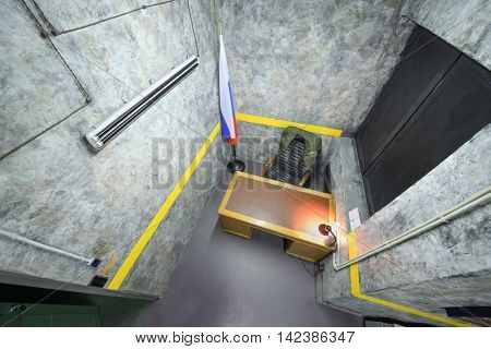 MOSCOW, RUSSIA - MAR 11, 2015: Kvest- secret material, Area 51,  interior of one of rooms a reality Mistikum quests studio, above view