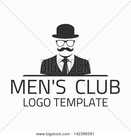 Vintage gentlemen club emblem. Mens club vector logo design template. Creative logo gentleman with a mustache, hat and glasses.