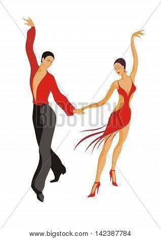 the man and the woman dance Latin American cha-cha