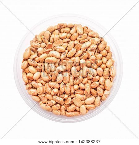 roasted soy beans isolated on white background