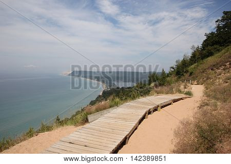 A trail on the dunes in Sleeping Bear Dunes National Lakeshore, Michigan.