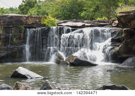 The waterfall in Tad Tone waterfall national park in Chainart Thailand