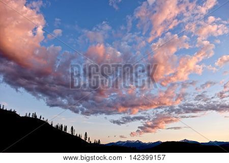 Pink light clouds over snowcapped mountains ans trees silhouettes. North Cascades National park Winthrop WA USA.