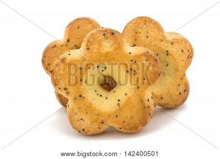 biscuits with poppy seeds on a white background