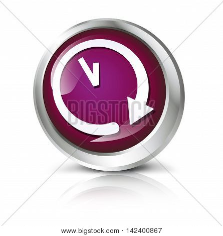Glossy icon or button with clock or time symbol. 3D illustration